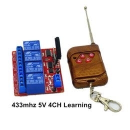 Wholesale Learning Switch Remote - Wholesale- 15-100m 4-Channel 433mhz Remote Control Learning Switch Relay Module 05V DC with 4-key RF Controller