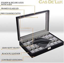 Wholesale Display Locks - Luxury Watch Box 24 Velvet Pillow Slots, Premium Display Case With Framed Glass Lid, Elegant Contrast Stitching, Sturdy & Secure Lock