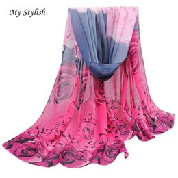 Wholesale Big Beautiful Men - Wholesale- My Stylish Women Ladies Beautiful Rose Pattern Chiffon Shawl Wrap Wraps Scarf Scarves Black 2016 Big Promotion Fashion Oct 24