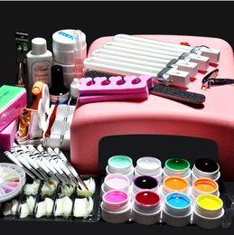Wholesale Curing Lamps - Professional Full Set 12 colors UV Gel Kit Brush Nail Art Set + 36W Curing UV Lamp kit Dryer Curining Manicure Tools