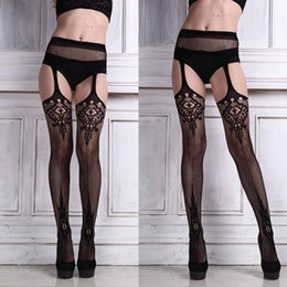 Wholesale Lace Panties Garter - Wholesale- 2016 Hot Sexy Stocking Woman Hollow Out High Waist Net Lace Fishnet Top Garter Belt Thigh-Highs Stocking Pantyhose Panties Black