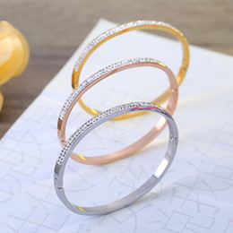 Wholesale Famous Wedding Rings - top quality famous brands jewelry for women wedding party crystal stainless steel bangles best gift for Christmas