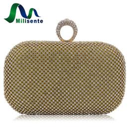 Wholesale Bags Weding - Milisente Women Evening Bag Ring Rhinestone Clutch Bags Weding Party Purse Gold Pron Ball Diamond Handbags