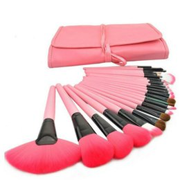 Макияж кисти шерсть онлайн-Professional 24 PCS Face Cosmetics Makeup Brush Set Tools Make-up Toiletry Kit Wool Make Up Brushes Case