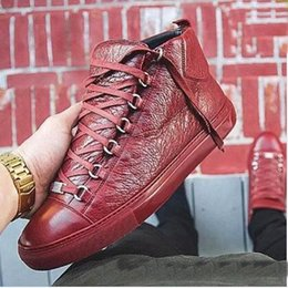Wholesale Name Brand Shoes For Men - 2017 High quality Name Brand Fashion Sexy Top Quality Men Flats Designer Men Shoes Lace up Shoes Mens High for boots