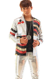 Wholesale Stage Wear Men - 2017 silver jacket male costume men's dance outerwear Nightclub party Christmas stage costumes for singers fashion slim wear