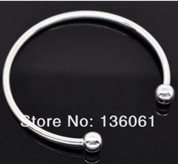 10pcs 925 placcato argento SP Fill Fill donne polsino Bangle 65mm 70mm formato europeo perline braccialetto di fascino artigianato accessori regalo da
