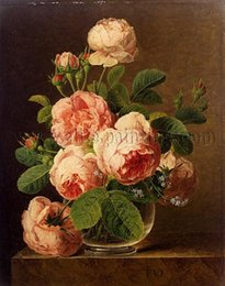 glass canvas Canada - Framed Jan Frans van Dael - Still Life of Roses in a Glass vase,Free shipping,Hand Painted Stunning Art oil painting Thick Canvas Multi size