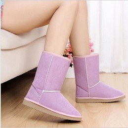 Wholesale Gray Leather Boots Women - Wholesale- Free shipping Winter Thicken Short Plush Snow Boots Shoes For Women Black Coffee Gray Beige Brown Pink color 405