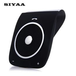 Wholesale handfree speaker - Wholesale- New Stereo Bass Speakerphone Bluetooth Car Kit Handsfree Sunvisor Wireless Handfree Car Bluetooth Phone Speaker Bluetooth V4.0