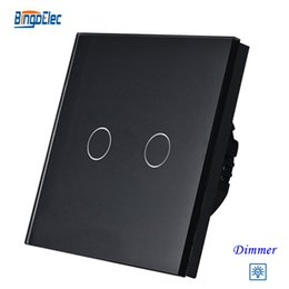 Wholesale Touch Light Switches Standard - Wholesale-2gang dimmer light switch,2gang1way touch sensor dimmer switch EU UK standard AC110-250V