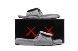 Wholesale Bowtie Sandals - Free Shipping Kaws Retros 4 Cool Grey Slippers Mens Kaws Hydro IV Slides Retros 4s Kaws 2017 Summer Sandals Size 7- 12