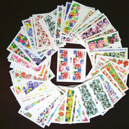 Wholesale Flower Water Decals - 50 pieces Mixed Flowers Designs Full Wraps Nail art Water Transfer Stickers Nail Point Decals Beauty Manicure Decor Tool
