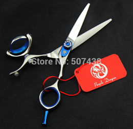Wholesale Scissors Swivel - Wholesale- Purple dragon Hair Cutting Scissors swivel scissors Barber Scissors 5.5 INCH or 6 INCH 440C Simple packing NEW