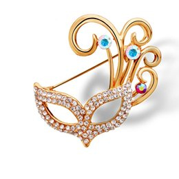 Wholesale Mask Pins - Wholesale- Hot 2016 Fashion Jewelry Masquerade Mask Brooch Vintage Lovely Crystal Rhinestone Scarf Pins Brooches For Wome