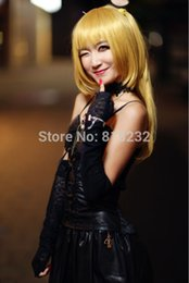 Wholesale Misa Death Note Cosplay Costume - costume pooh Death Note Misa Amane Imitation Leather Dress Sexy Uniform Cosplay Costumes dress paillette costume pooh
