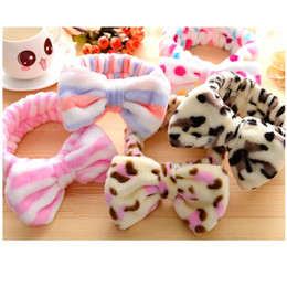 Wholesale Makeup Band - 2017 New Butterfly End Hairband Hairband Hairband Makeup Makeup Coral Pile Flower Head Bunched Hair Band