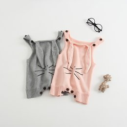 Wholesale Ear Bunny - New Baby Rompers Toddler Baby Boy Girls Clothing Set Sleeveless Bunny Ear Design Jumpsuit Kids Newborn Outwear for 0-3t