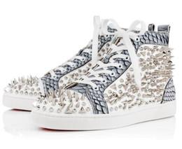 Wholesale Elegant Tops For Women - 2017 Elegant Red Bottom Sneakers Shoes For Men,Women High Top Casual Shoes,Fashion Pik Pik Rivets Men's Flat Walking Shoes 35-46