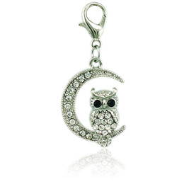 Wholesale Owl Moon Charm - Brand Fashion 2 Color Charms With Lobster Clasp Rhinestone Moon Owl Animal Pendants DIY Jewelry Making Accessories