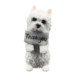 Wholesale Statues For Home - West Highland White Terrier Dog Figurine Hands THANK YOU resin dog statue for home and garden decoration