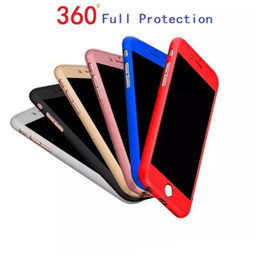 Wholesale Abs Plastic Mobile Phone Case - Hybrid 360 Degree Ultra-thin Full Body Protective Case Cover with Tempered Glass Screen Protector for iPhone 6 6S 7 Plus Mobile Phone Case