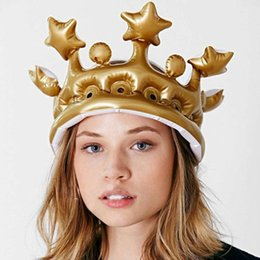 Wholesale Wholesale Crown Hats - Inflatable Crown Kids Birthday Party Hats Inflated Cosplay Tools Stage Props Kid Birthdays Party Supplies DYY1569 (Color: Gold)