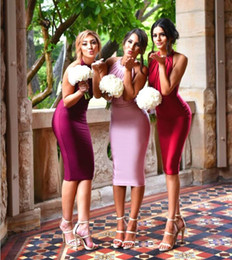 Wholesale Knee Length Mermaid Bridesmaid Dresses - Sexy Backless Satin Mermaid Pink Burgundy Red Colour Bridesmaid Dresses With Sash 2017 Knee Length Maid Of Honor Dress For Wedding