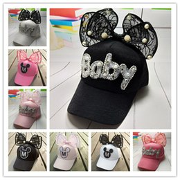 Wholesale Baby Cap Girl S - 2017 new fashion Spring and Autumn Children 's Hat baby Girl' s Super cute Bowknot Lace Mesh Baseball Cap kids Hat beaies