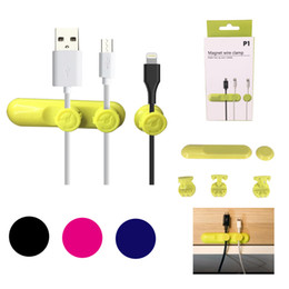 Wholesale Cable Wire Cords Organizer - New Magnetic Cable Holder Earphone Headphone Cord Winder USB Organizer Gather Clips Magnet Wire Clamp Colorful