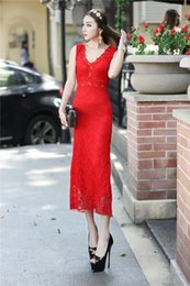 Wholesale Tight Diamond Dresses - Free shipping Europe 2017 summer new Europe and the big diamond collar sexy V slim tight lace dress evening dress