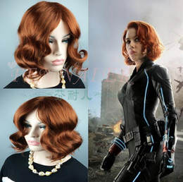 Wholesale Black Widow Cosplay - Avengers: Age of Ultron Cosplay Wig Marvel's The Avengers Black Widow Wigs Dark Brown Cosplay Short Curly Hair