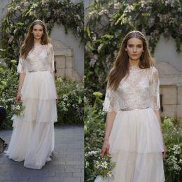 Wholesale monique lhuillier illusion - Monique lhuillier 2018 Beach Wedding Dresses With Wrap Lace V Neck Half Sleeve Wedding Dress Tiers Floor Length Bridal Gowns