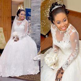 бисерные свадебные платья из золушки Скидка Свадебные платья больших размеров с прозрачным вырезом и кружевными аппликациями