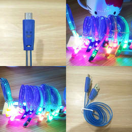 Wholesale Tcl Android - LED Glowing Lightning USB Charger Data Sync Cable For Samsung LG TCL Android -B