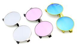 Wholesale Colored Frames Glasses - Hot!Fashion mental round women Reflective sunglasses metal colored film Sunglass sun GLASSES for beach street Mirror oculos de sol