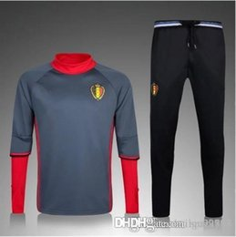 Wholesale Belgian Red - Best quality Belgium training suit 2016 Europe cup national team Belgian Football Sportswear Set skinny pants free shipping