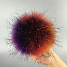 Wholesale Accessories For Shoes - 13cm Natural raccoon fur balls key chain fur hat winter hats Fur pom for shoes 100 real cap accessories Free Shipping