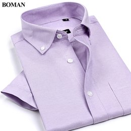 Wholesale Casual Style Work Men - Wholesale- Summer Style New Arrival High Quality Men's Non-Iron Oxford Shirts Solid Color Short Sleeve Casual Shirts Work Wear For Men
