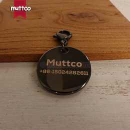 Wholesale Laser Pet Tags - DIT-013 retailing laser lettering dog id tags to pets record name engrave tags zinc alloy shiny black circular dog id tag