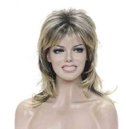 Wholesale Wigs Long Layered - Long Shaggy Layered Blonde Ombre Classic Cap Full Synthetic Wig Women's Wigs