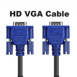 Wholesale Dual Monitor Vga Cable - HD VGA Cable Full HD 1080P Computer Monitor 16 Feet with Dual Ferrite Cores Standard 15 Pin Male to Male VGA Wire
