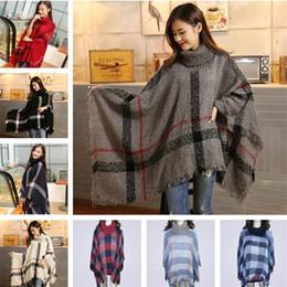 gradiente alaranjado pashmina Desconto Mulheres Poncho casaco xadrez ponchos xales cobertor cachecóis tartan cachecol moda grade envolve cape capa camisola das mulheres presente