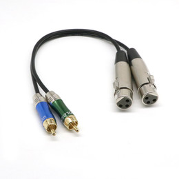 Wholesale Wholesale Xlr Cables - Stereo Audio Cable Cord Dual XLR Male to Dual RCA Male Plug for Mxing Console Microphone Amplifier