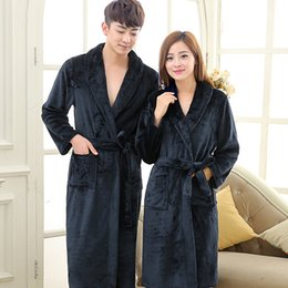 Wholesale Fleece Bathrobes Women - Towel Bath Robe Dressing Gown for Women Men Sleeve Solid Coral Fleece Bathrobe Peignoirwn Nightgos Robes Sleepwear
