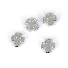 Wholesale Small Cross Charm Bracelet - Wholesale- 120pcs lot Tibet Silver Double Cross Charm Small Hole Beads Fit Bracelet 8*8mm Jewelry Findings & Components