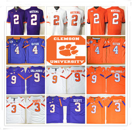 Wholesale Tiger Sleeveless - Stitched NCAA Clemson Tigers College 9 Gallman II 3 Scott 2 Watkins 4 Deshaun Watson 2 Sammy Watkins 10 Tajh Boyd wholesale Rugby
