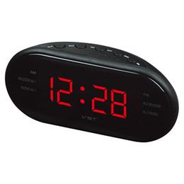 Wholesale mini dual band radio - Wholesale-New Portable FM AM Dual Band Radio Receiver With Clock LED Display Sleep Snooze Multifunction Mini Radio Receiver 4 Color