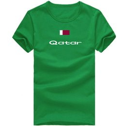 Wholesale Victory Shirt - Qatar T shirt Country sport short sleeve Cheer victory tees Nation flag clothing Unisex cotton Tshirt