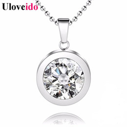 Wholesale Trendy Products - Stainless Steel Charms Necklace Women Vintage Fashion Big Crystal Geometric Circle Pendant Men's Products Trendy 2016 STN158
